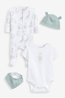 Mint Character Character Sleepsuit, Short Sleeve Bodysuit, Bib and Hat Set (0-6mths)