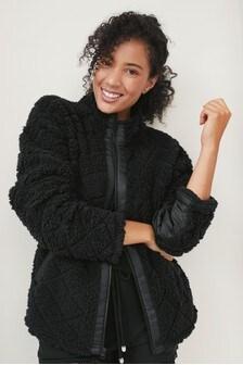 Black Quilted Borg Zip Jacket