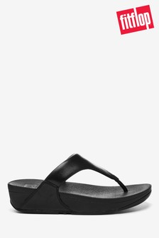 FitFlop™ Black Lulu Leather Toe Post Sandals
