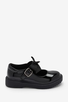Black Patent Bow Chunky Mary Jane Shoes