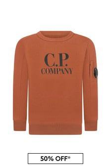 CP Company Boys Orange Cotton Sweater