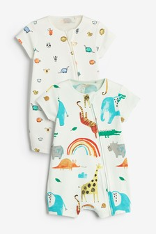 Watercolour Zoo 2 Pack Zip Rompers (0mths-3yrs)
