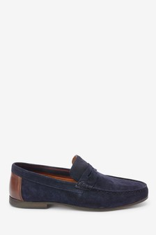 Navy Suede Penny Loafers