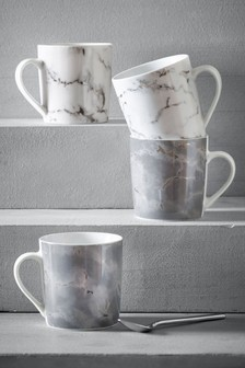 Set of 4 Silver Marble Mugs