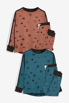 Multi 2 Pack Gamer Print Pyjamas (3-16yrs)