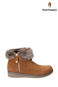 Hush Puppies Tan Penny Zip Ankle Boots