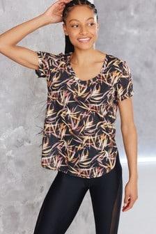 Black Leaf Printed Short Sleeve V-Neck Sports Top