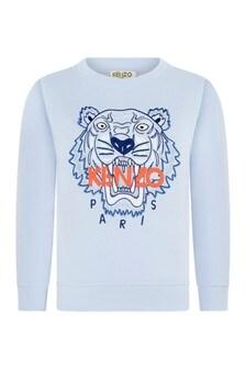Boys Light Blue Cotton Tiger Sweater