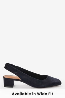 Navy Leather Square Toe Slingbacks