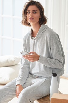 Grey Cowl Neck Sweatshirt