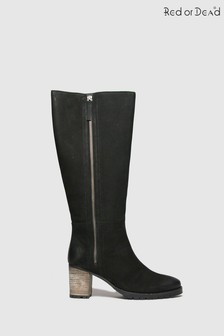 Red Or Dead Black Romeo Nubuck High Leg Boots
