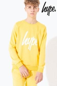 Hype. Yellow Hype Script Kids Crew Neck Sweater