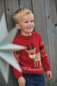 Red Christmas Reindeer Jumper (3mths-7yrs)