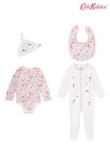 Cath Kidston Mini Lovebugs Bodysuit, Sleepsuit, Bib And Hat Baby Starter Set
