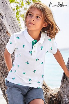 Mini Boden White Piqué Poloshirt