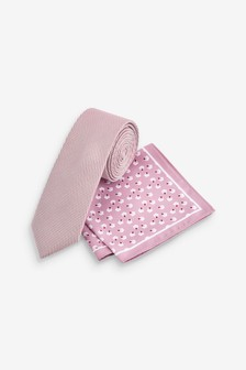 Dusky Pink Slim Tie With Geometric Pocket Square Set