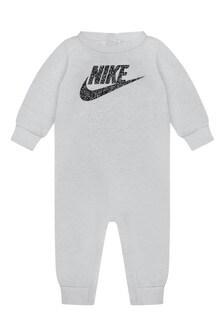Baby Boys Grey Cotton Logo Romper