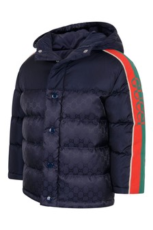 Boys Navy Padded GG Jacket
