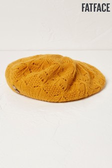 FatFace Yellow Pointelle Knit Beret