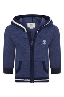 Baby Boys Blue Cotton Knitted Zip Up Top