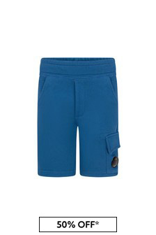 CP Company Boys Blue Cotton Shorts
