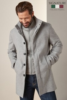 Light Grey Funnel Neck Coat With Removable Gilet