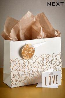 Heart Print Gift Bag Set