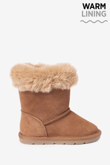 Tan Water Repellent Warm Lined Suede Pull-On Boots