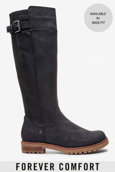 Black Regular/Wide Fit Forever Comfort® Chunky Knee High Boots