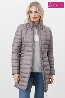 Joules Canterbury Long Luxe Puffer Jacket With Detachable Hood