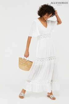 Accessorize White Lace Insert Sleeved Maxi Dress