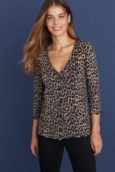 Animal Nursing Button-Through Frill Hem Top