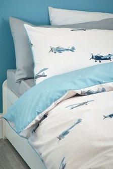 Playful Planes Organic Cotton Reversible Duvet Cover And Pillowcase Set