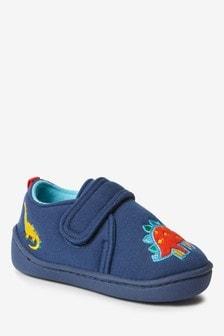 Navy Dinosaur Slippers (Younger)