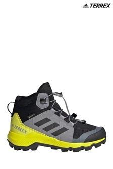 adidas Grey/Yellow Terrex Mid Gore-Tex Hiking Shoes