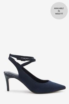 Navy Ankle Strap Slingbacks