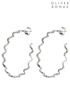 Oliver Bonas Silver Plated Conti Squiggle Hoop Earrings