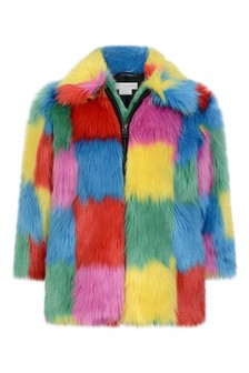 Girls Multi-Coloured Faux Fur Coat