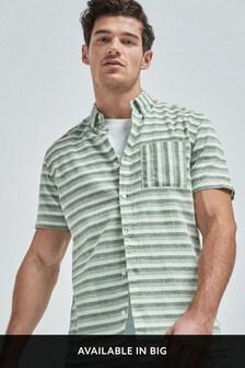Green Regular Fit Stripe Linen Blend Short Sleeve Shirt