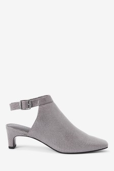 Grey Slingback Closed Toe Shoe Boots