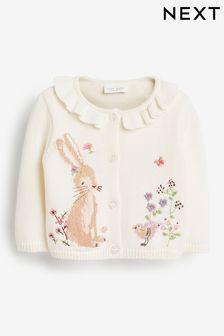 Ecru Bunny Frill Neck Cardigan (0mths-2yrs)