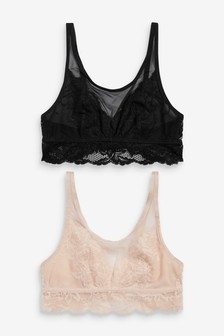 Black/Nude Daisy Non Padded Wire Free Lace Crop Tops Two Pack