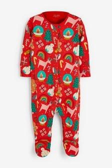 Red Christmas All Over Print Sleepsuit (0-2yrs)