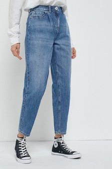 Mid Blue Slouchy Tapered Jeans