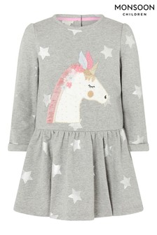 Monsoon Baby Unicorn Sweat Dress In Pure Cotton