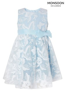 Monsoon Blue Baby Sophia Butterfly Lace Dress