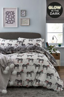 Glow In The Dark Christmas Zebras Duvet Cover and Pillowcase Set