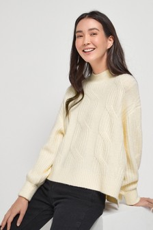 Cream Cable Detail Jumper