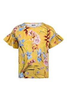 Girls Yellow Flowers Organic Cotton T-Shirt