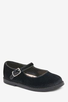 Black Velour Mary Jane Shoes